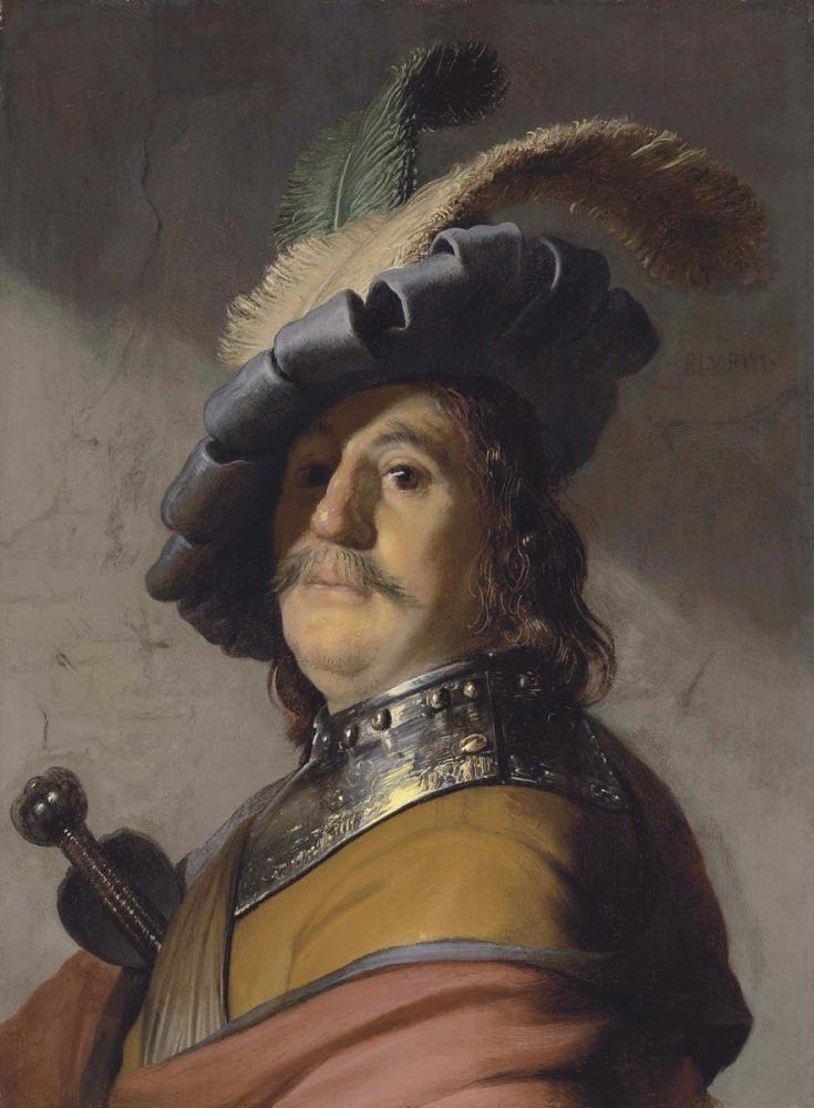 Rembrandt van Rijn, Boğaz Zırhı Ve Şapkalı Bir Adam, Kanvas Tablo, Rembrandt, kanvas tablo, canvas print sales
