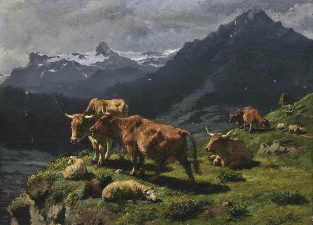 Rosa Bonheur, Sığır ve Koyun Alp Manzara, Kanvas Tablo, Rosa Bonheur, kanvas tablo, canvas print sales