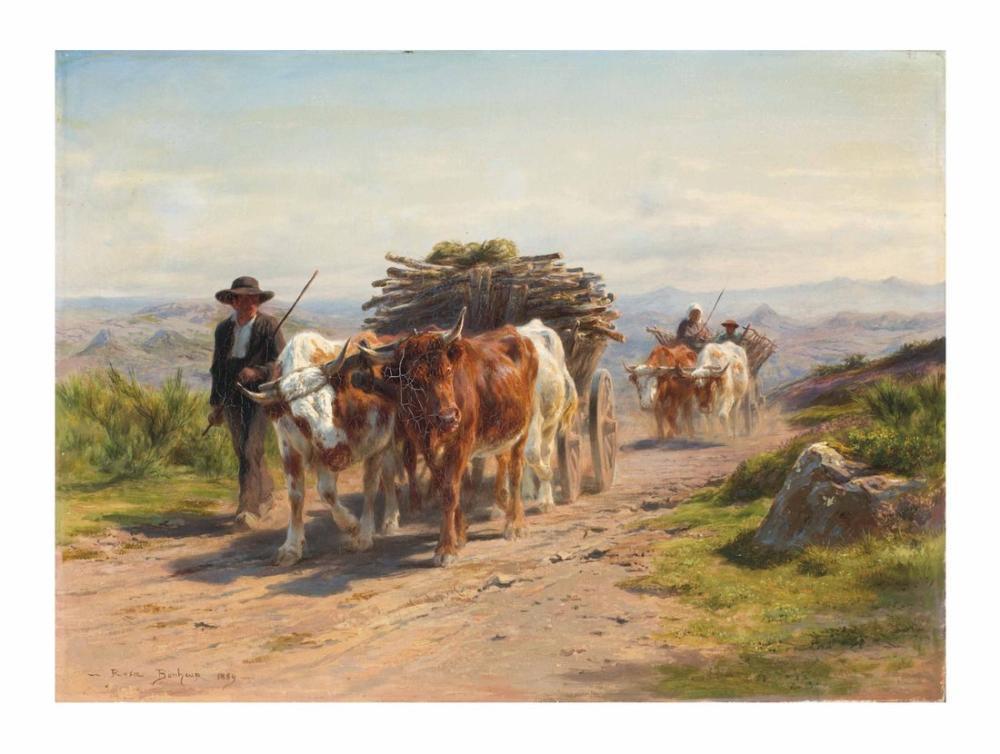Rosa Bonheur, Araba ile İnek ve Çoban Auvergne İçinde, Kanvas Tablo, Rosa Bonheur, kanvas tablo, canvas print sales