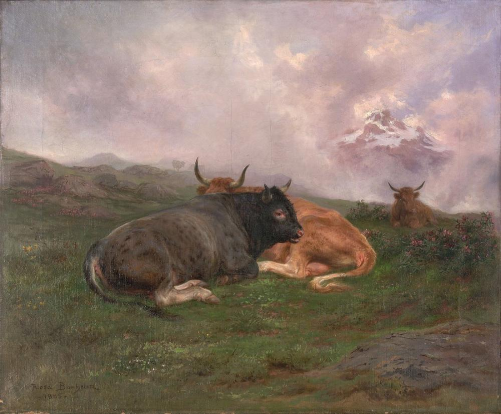 Rosa Bonheur, Sığırlar Alplerde bir yamaca istirahat, Kanvas Tablo, Rosa Bonheur, kanvas tablo, canvas print sales