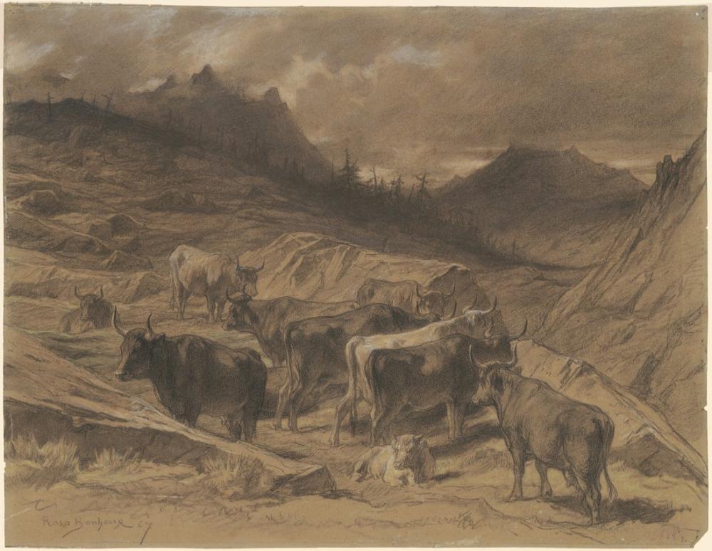 Rosa Bonheur, Cattle in the Auvergne, Canvas, Rosa Bonheur, kanvas tablo, canvas print sales