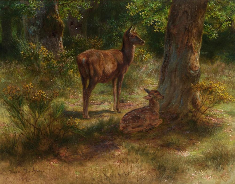 Rosa Bonheur, Geyik ve Bir Ormanda Vahşi Hayvanlar, Kanvas Tablo, Rosa Bonheur, kanvas tablo, canvas print sales