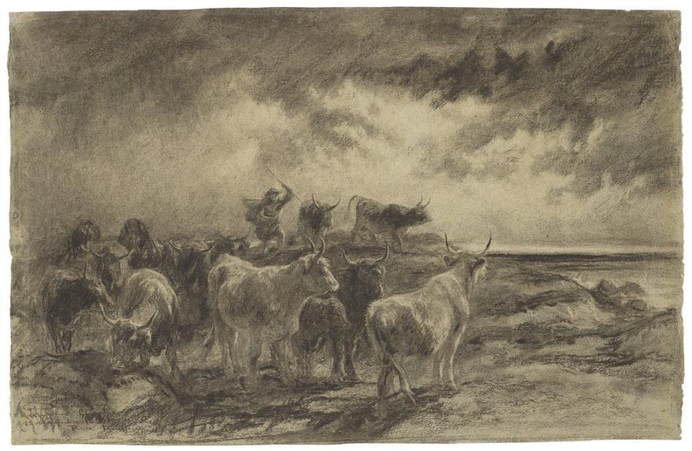 Rosa Bonheur, Sığırları Süren Bir Sığır Çobanı, Kanvas Tablo, Rosa Bonheur, kanvas tablo, canvas print sales