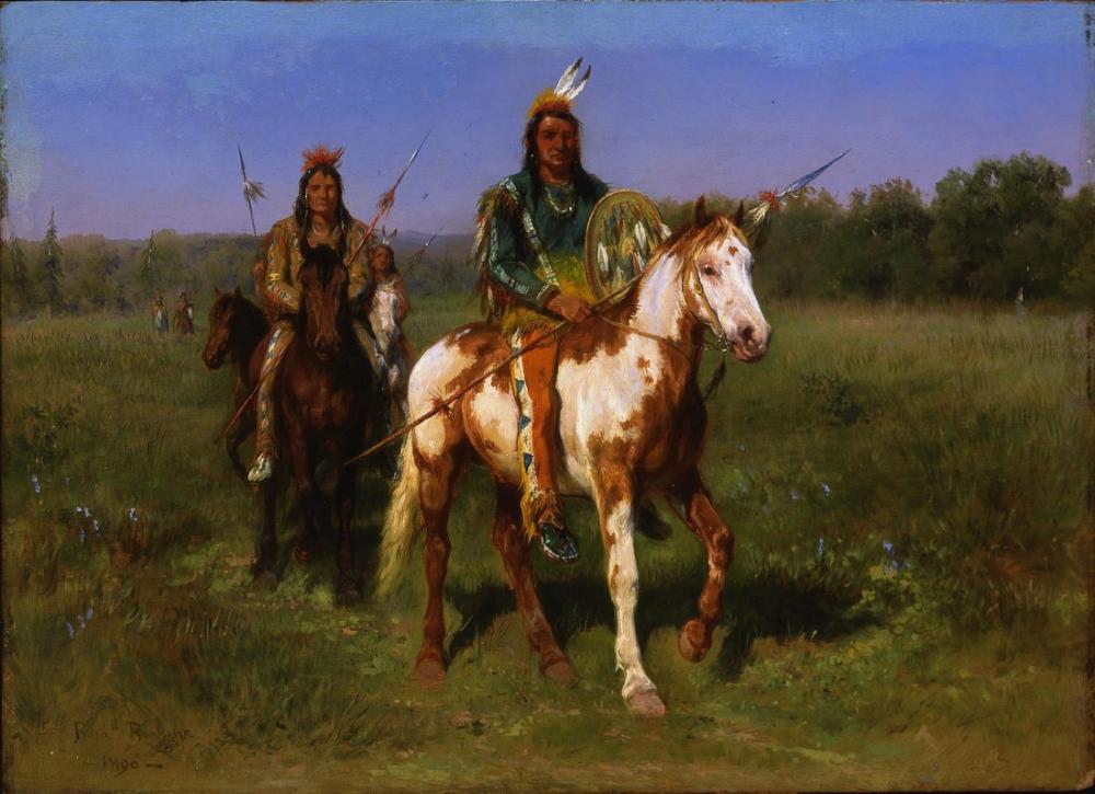 Rosa Bonheur, Atlı Kızılderililer Mızraklarla Silahlı, Kanvas Tablo, Rosa Bonheur, kanvas tablo, canvas print sales