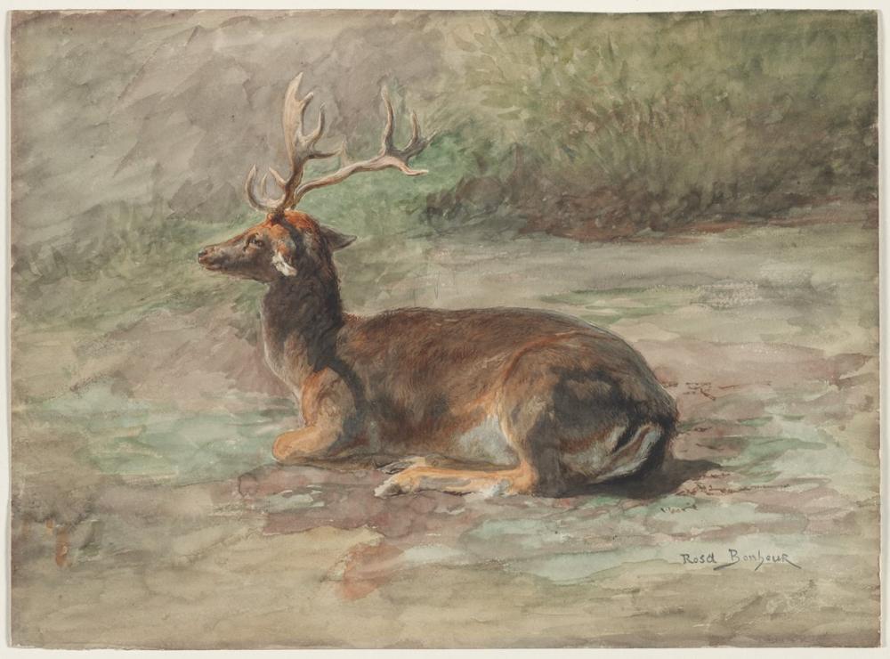 Rosa Bonheur, Yaslanmış Erkek Geyik, Kanvas Tablo, Rosa Bonheur, kanvas tablo, canvas print sales