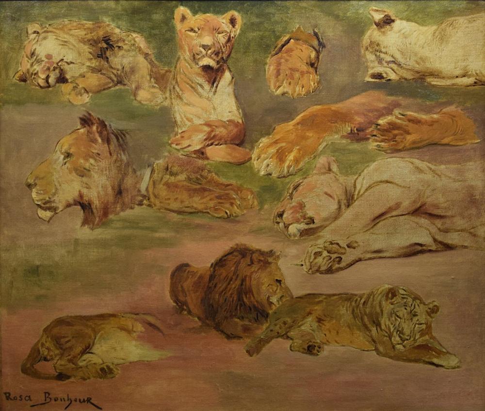 Rosa Bonheur, Aslanların Roubaix Çalışması, Kanvas Tablo, Rosa Bonheur, kanvas tablo, canvas print sales