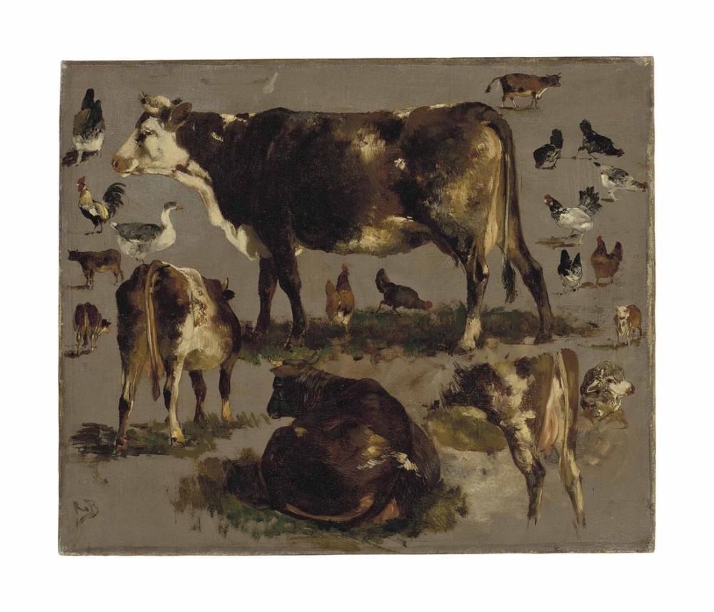 Rosa Bonheur, İnek Çalışmaları Tavuklar Bir Kaz ve Bir Koyun Horozlar, Kanvas Tablo, Rosa Bonheur, kanvas tablo, canvas print sales