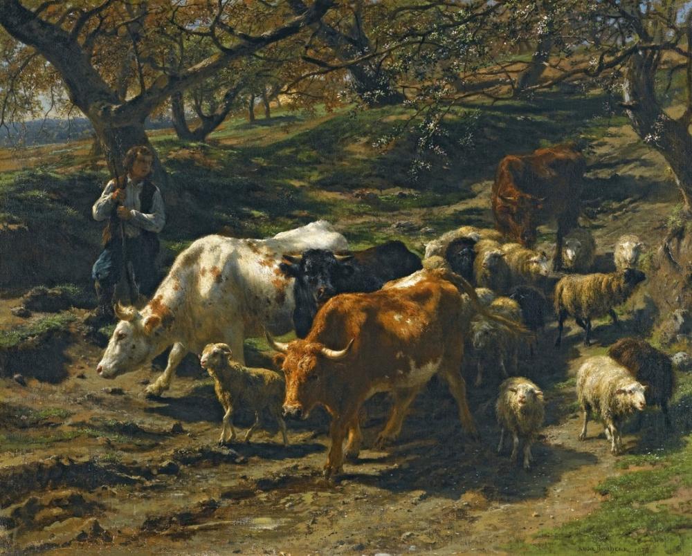 Rosa Bonheur, Sürüsü ile Bir Çoban, Kanvas Tablo, Rosa Bonheur, kanvas tablo, canvas print sales