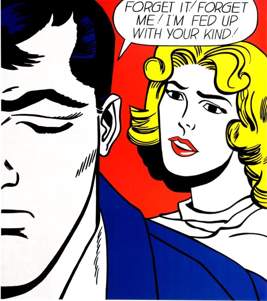 Roy Lichtenstein, Unut gitsin! Unut Beni!, Figür, Roy Lichtenstein, kanvas tablo, canvas print sales