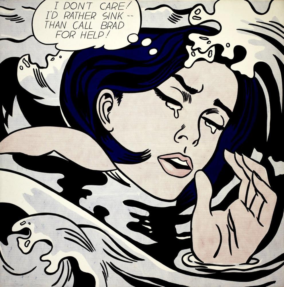 Roy Lichtenstein, Boğulan Kız, Figür, Roy Lichtenstein, kanvas tablo, canvas print sales