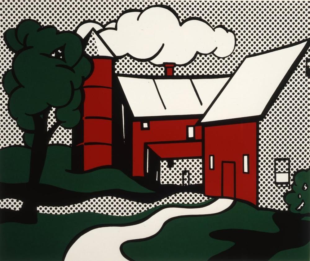 Roy Lichtenstein, Kırmızı Ahır, Figür, Roy Lichtenstein, kanvas tablo, canvas print sales
