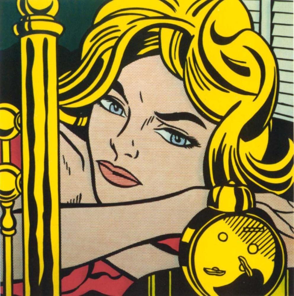 Roy Lichtenstein, Sarışın Bekliyor, Figür, Roy Lichtenstein, kanvas tablo, canvas print sales