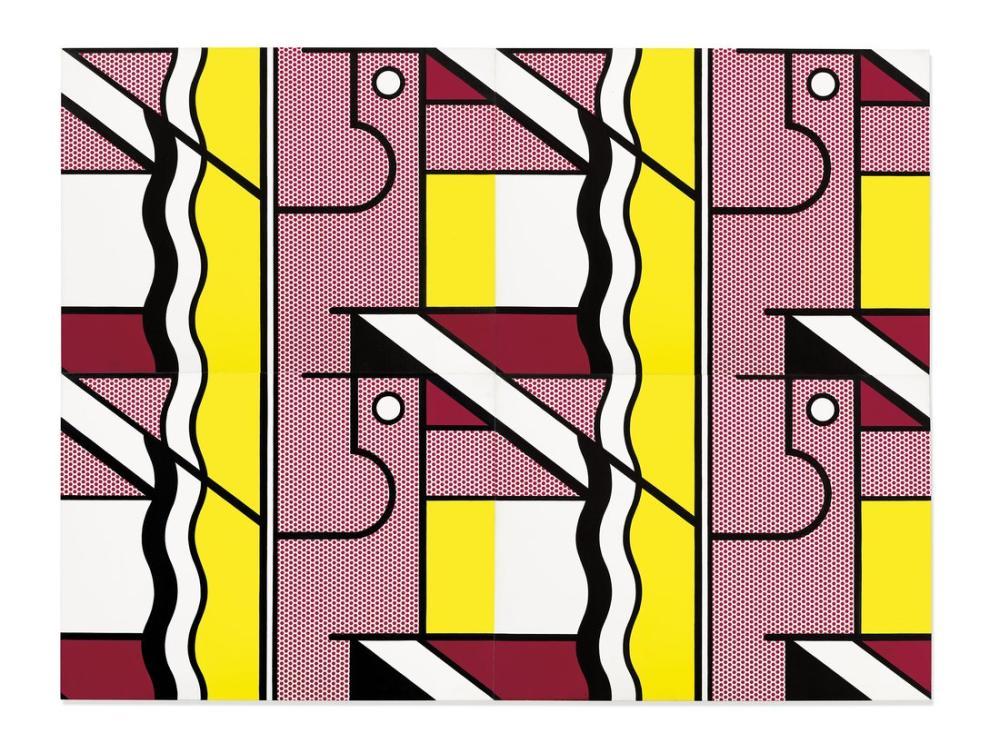 Roy Lichtenstein, Dört Panelli Modüler Boyama IX, Figür, Roy Lichtenstein, kanvas tablo, canvas print sales