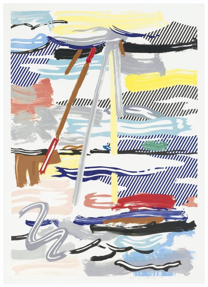 Roy Lichtenstein, Bulutların Arasından Güneş, Figür, Roy Lichtenstein, kanvas tablo, canvas print sales