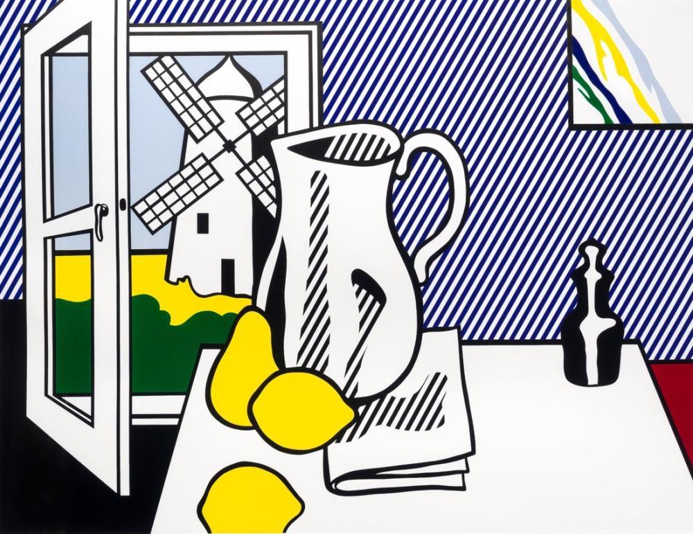 Roy Lichtenstein, Yel Değirmeni ile Natürmort, Figür, Roy Lichtenstein, kanvas tablo, canvas print sales