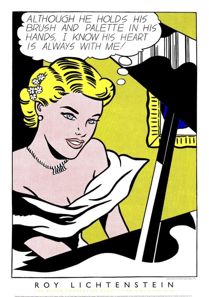 Roy Lichtenstein, Piyanodaki Kız, Figür, Roy Lichtenstein, kanvas tablo, canvas print sales