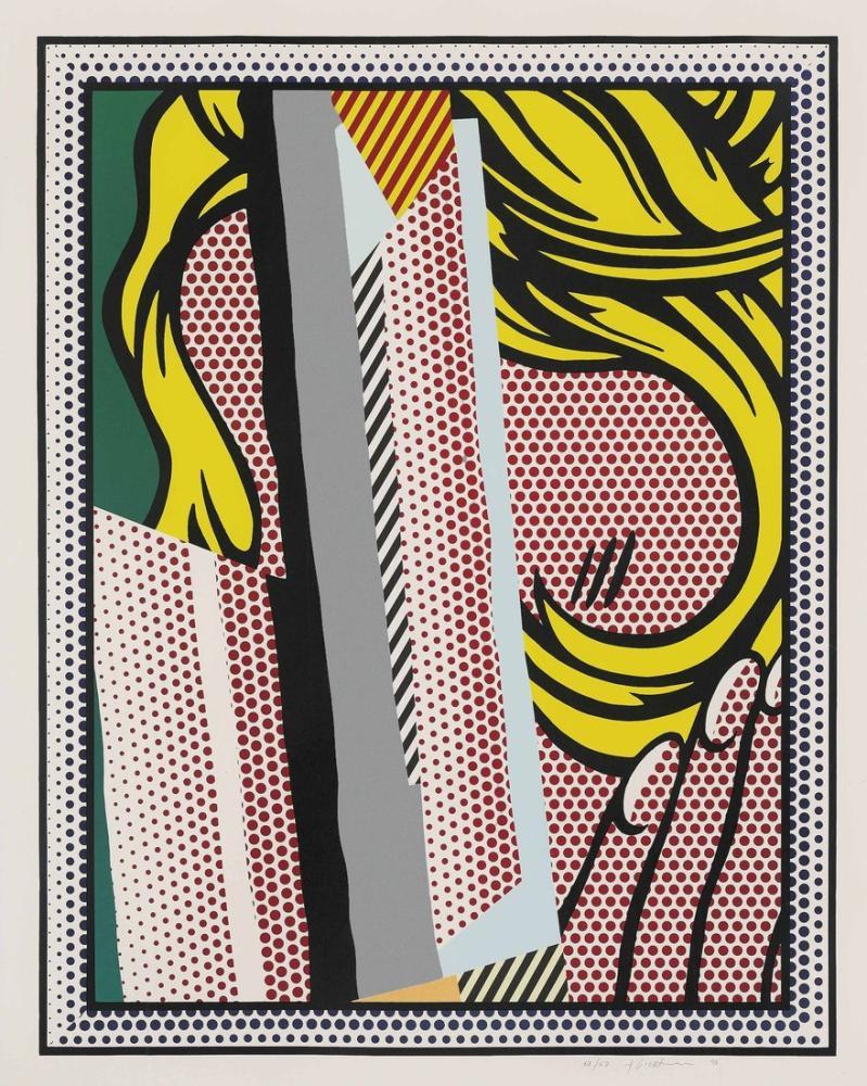 Roy Lichtenstein, Saç Üzerine Düşünceler İçin Kolaj, Figür, Roy Lichtenstein, kanvas tablo, canvas print sales