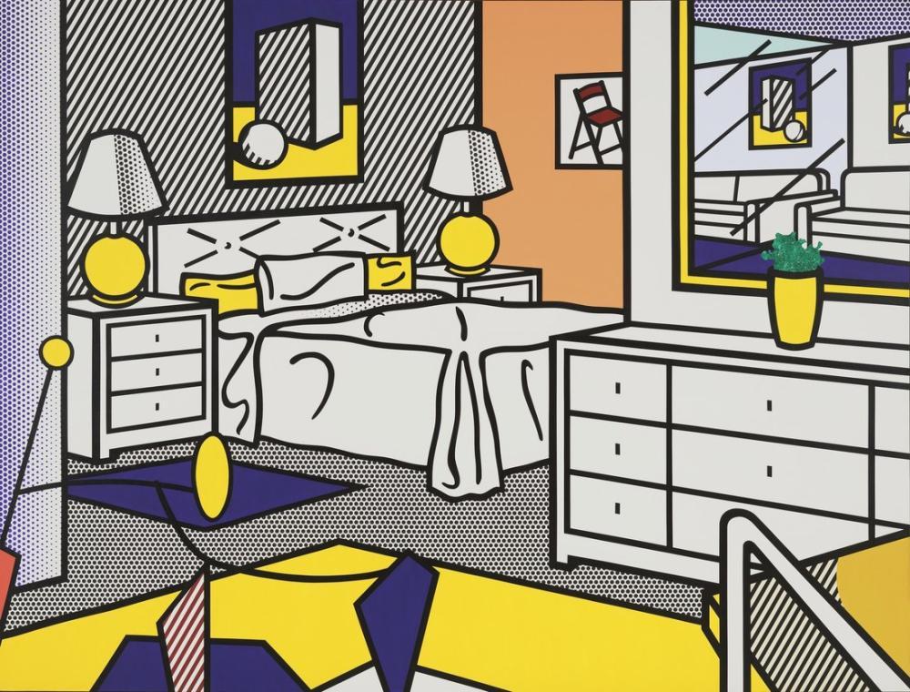 Roy Lichtenstein, Interior with Mobile, Figure, Roy Lichtenstein, kanvas tablo, canvas print sales