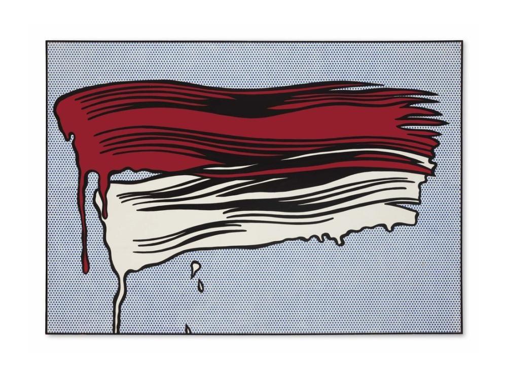 Roy Lichtenstein, Kırmızı ve Beyaz Fırça Darbeleri, Figür, Roy Lichtenstein, kanvas tablo, canvas print sales
