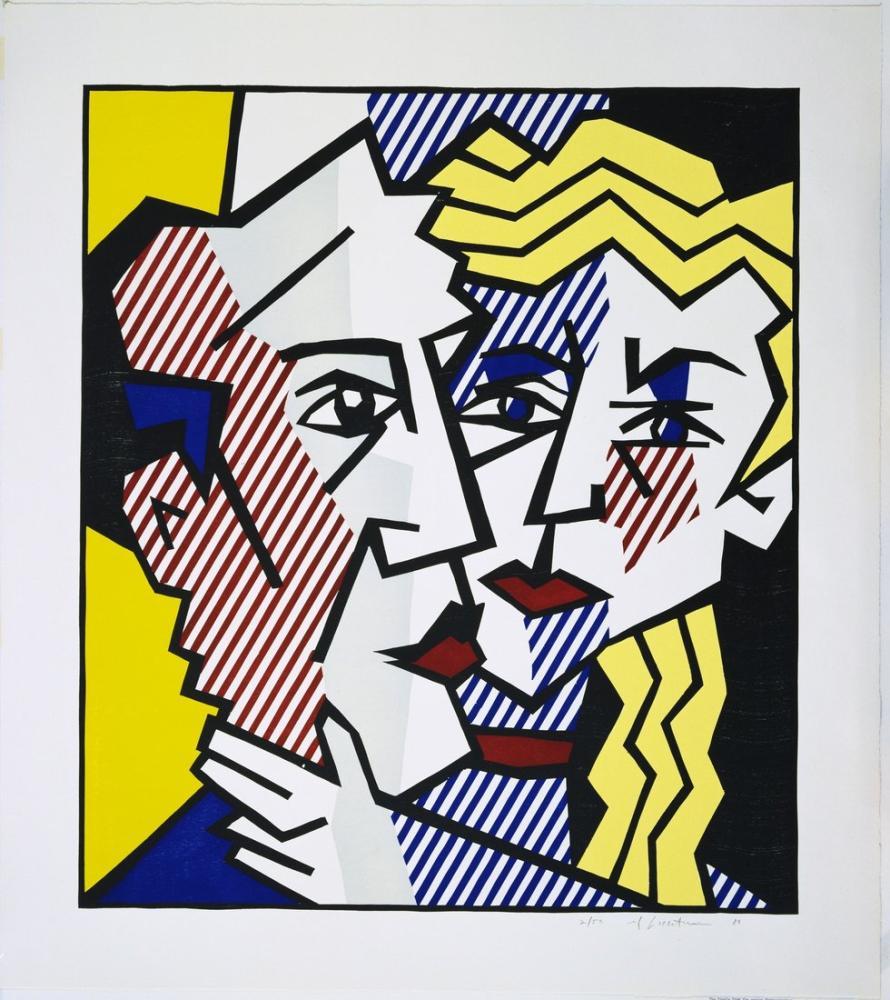 Roy Lichtenstein, Dışavurumcu Gravür Çift, Figür, Roy Lichtenstein, kanvas tablo, canvas print sales