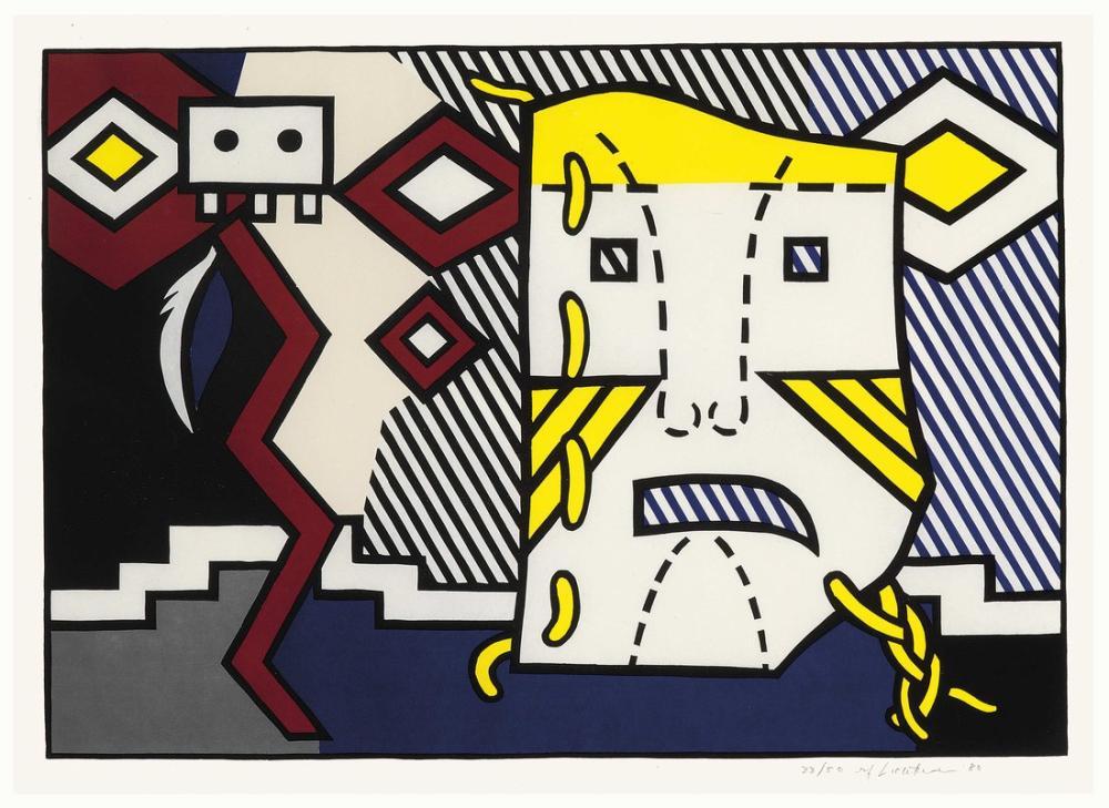 Roy Lichtenstein, Amerikan Kızılderili Teması V, Figür, Roy Lichtenstein, kanvas tablo, canvas print sales