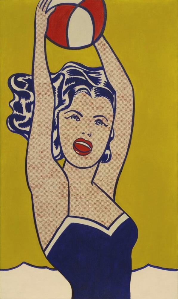Roy Lichtenstein, Top ile Kız, Figür, Roy Lichtenstein, kanvas tablo, canvas print sales