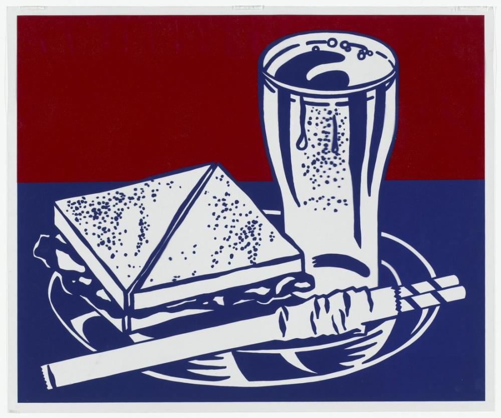 Roy Lichtenstein, Sandviç ve Soda, Figür, Roy Lichtenstein, kanvas tablo, canvas print sales