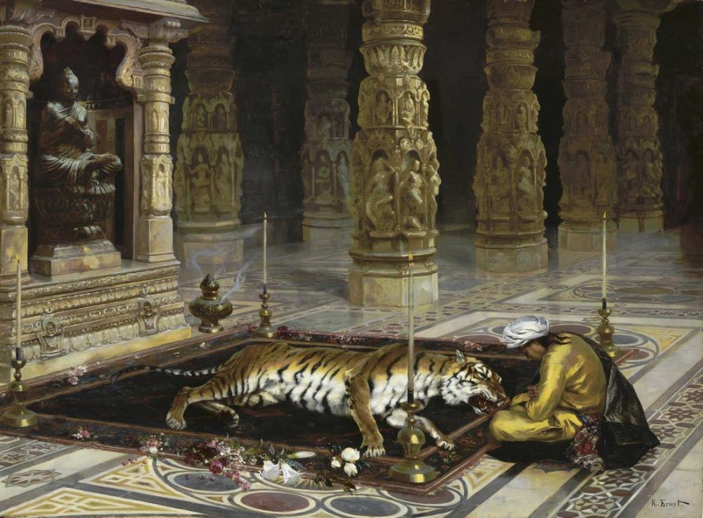 Rudolf Ernst Kaplanı Onurlandırmak, Oryantalizm, Rudolf Ernst, kanvas tablo, canvas print sales