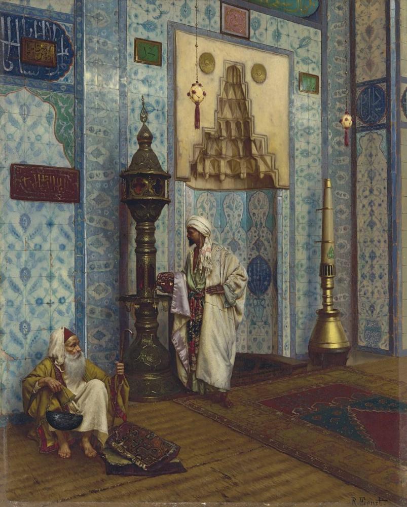 Rudolf Ernst In The Mosque Rüstempaşa, Orientalism, Rudolf Ernst, kanvas tablo, canvas print sales