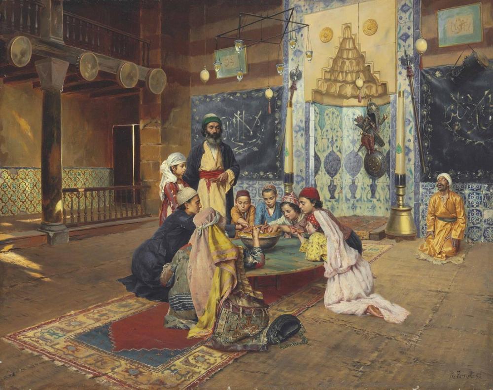 Rudolf Ernst Dervişler Arasında Yardım Üsküdar, Oryantalizm, Rudolf Ernst, kanvas tablo, canvas print sales