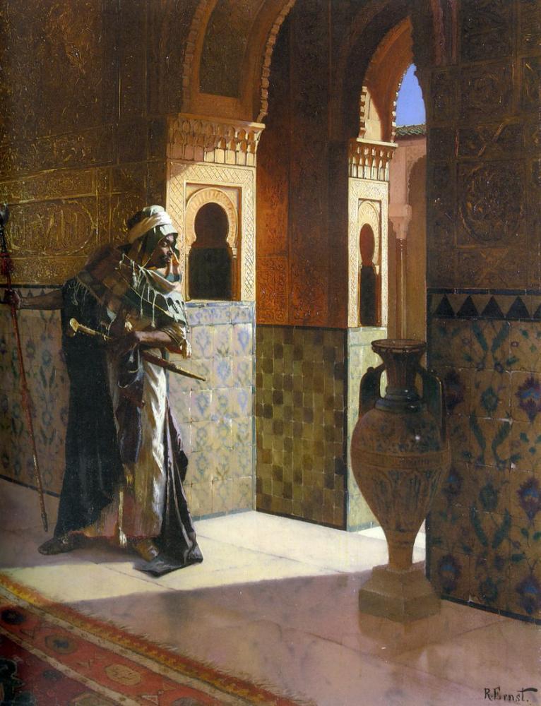 Rudolf Ernst Mağribi Muhafız, Oryantalizm, Rudolf Ernst, kanvas tablo, canvas print sales