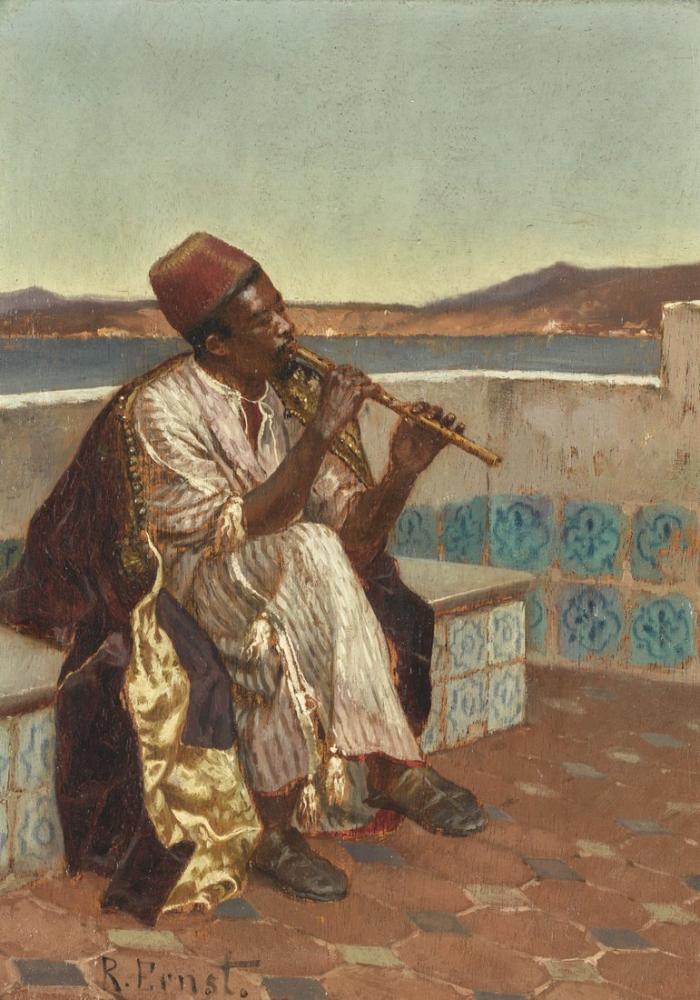 Rudolf Ernst Musician On The Terrace, Orientalism, Rudolf Ernst
