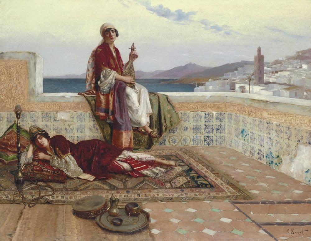 Rudolf Ernst Terasta Tangiers, Oryantalizm, Rudolf Ernst, kanvas tablo, canvas print sales