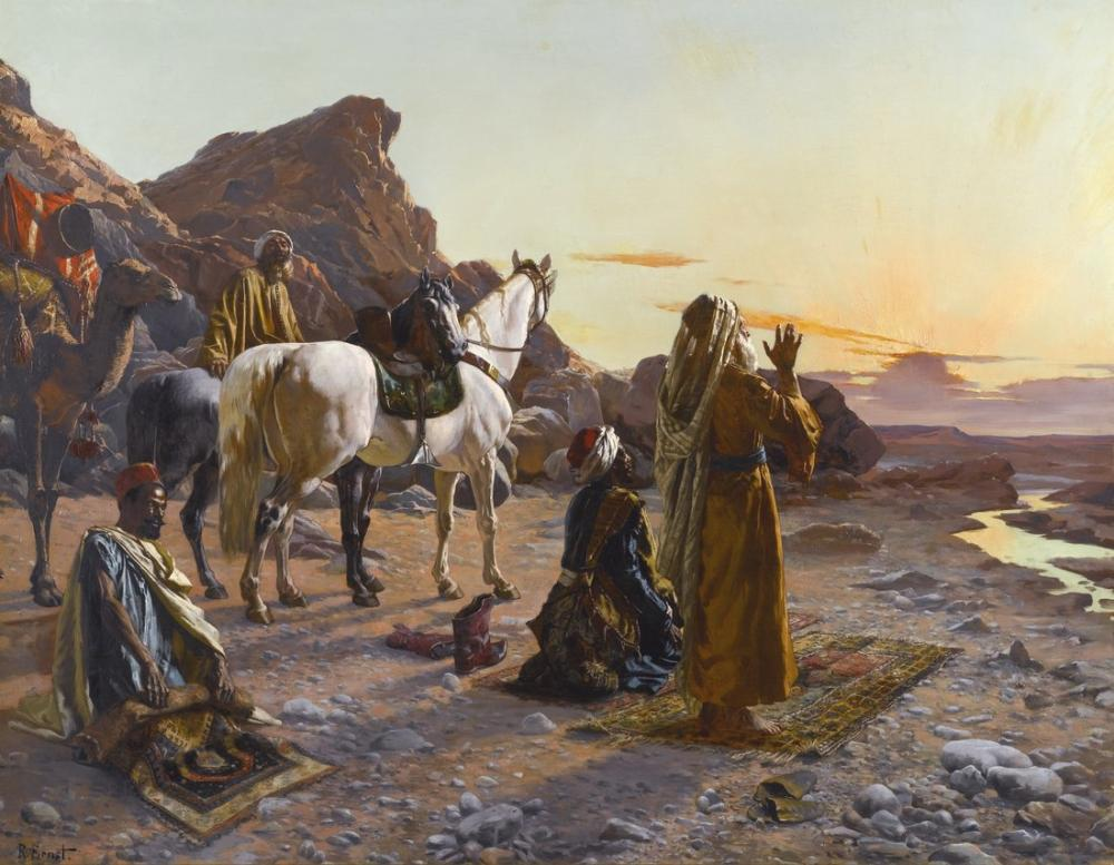 Rudolf Ernst Prayers At Sunrise, Orientalism, Rudolf Ernst, kanvas tablo, canvas print sales