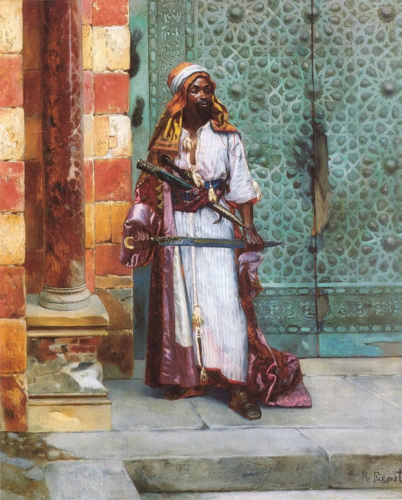 Rudolf Ernst Ayakta Bekçi, Oryantalizm, Rudolf Ernst, kanvas tablo, canvas print sales