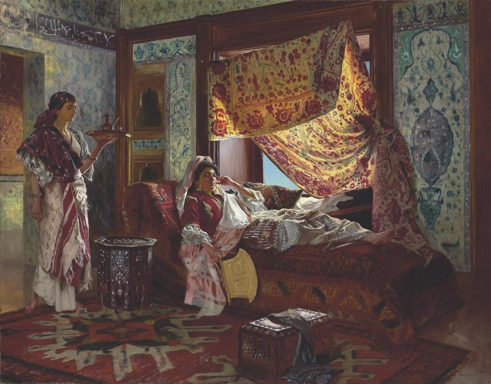 Rudolf Ernst Haremde Çay İçmek, Oryantalizm, Rudolf Ernst, kanvas tablo, canvas print sales