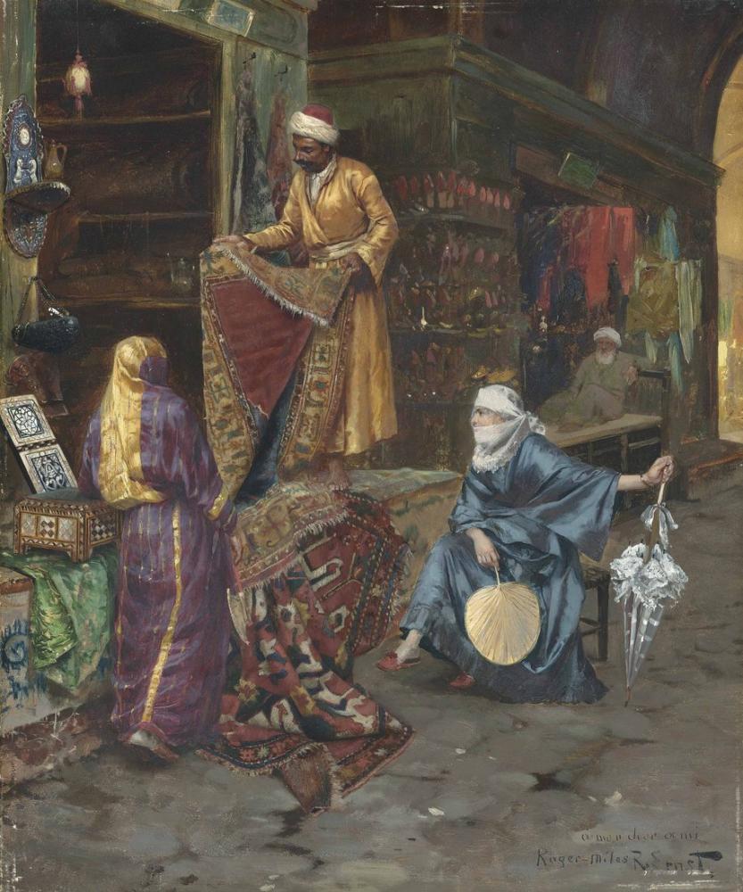 Rudolf Ernst Halı Satıcısı, Oryantalizm, Rudolf Ernst, kanvas tablo, canvas print sales