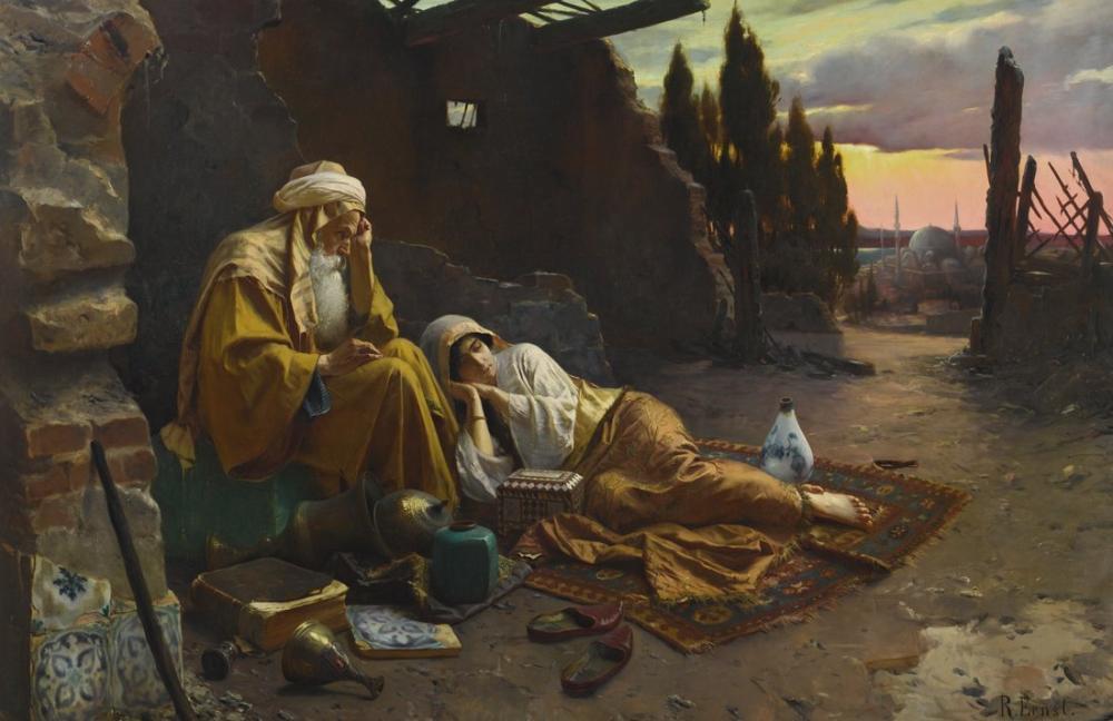 Rudolf Ernst Yeni Bir Şafak, Oryantalizm, Rudolf Ernst, kanvas tablo, canvas print sales