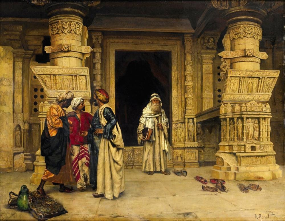 Rudolf Ernst The Chat Outside A Monument By Eastern Accent, Orientalism, Rudolf Ernst, kanvas tablo, canvas print sales