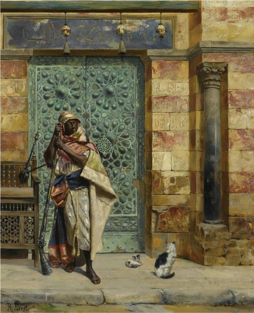 Rudolf Ernst The Nubian Guard, Orientalism, Rudolf Ernst, kanvas tablo, canvas print sales