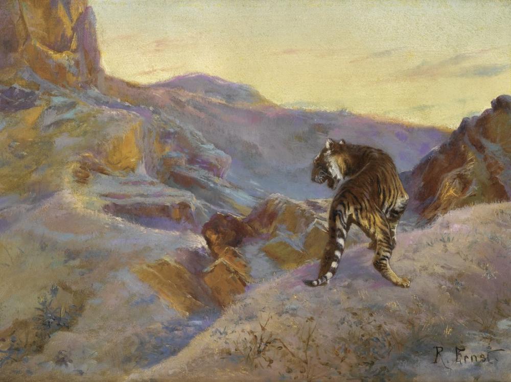 Rudolf Ernst Tiger In The Mountains, Orientalism, Rudolf Ernst, kanvas tablo, canvas print sales