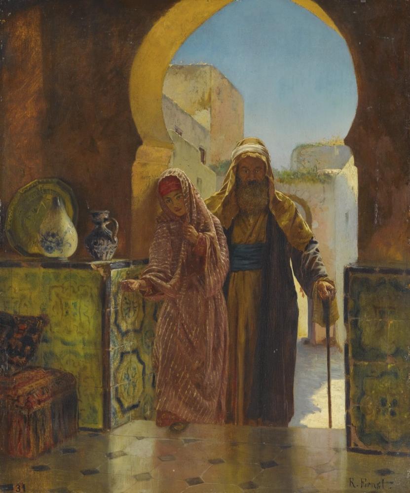 Rudolf Ernst An Important Visit, Orientalism, Rudolf Ernst, kanvas tablo, canvas print sales