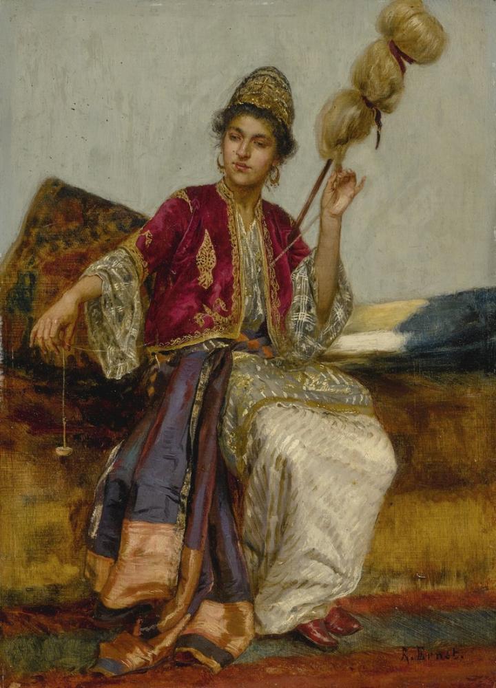 Rudolf Ernst The Spinner, Orientalism, Rudolf Ernst, kanvas tablo, canvas print sales