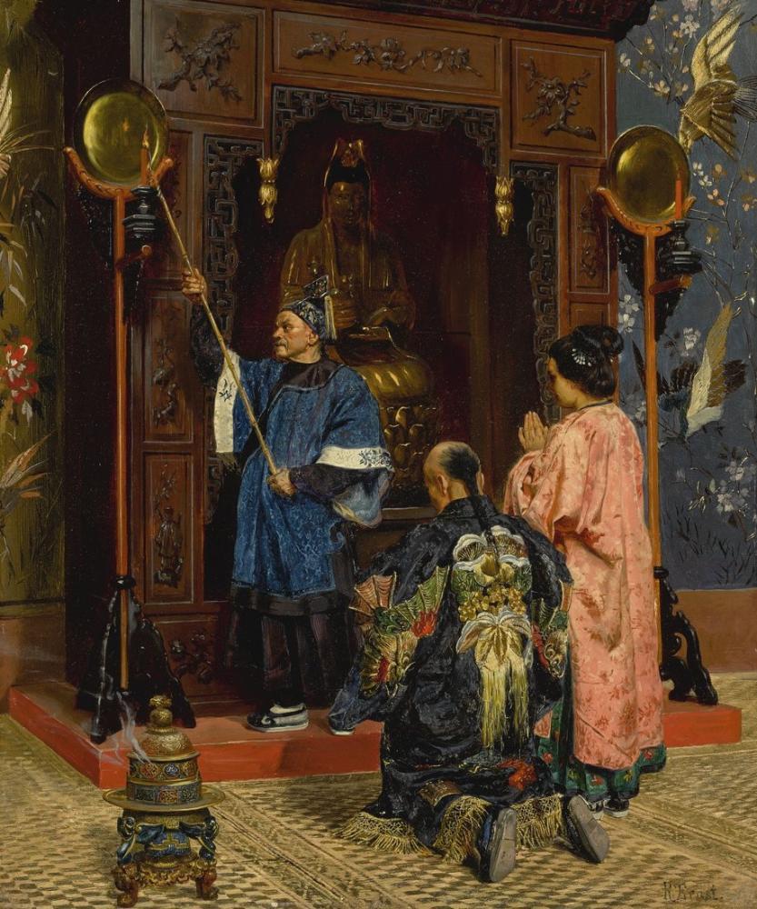 Rudolf Ernst  Worshippers At A Shrine, Orientalism, Rudolf Ernst