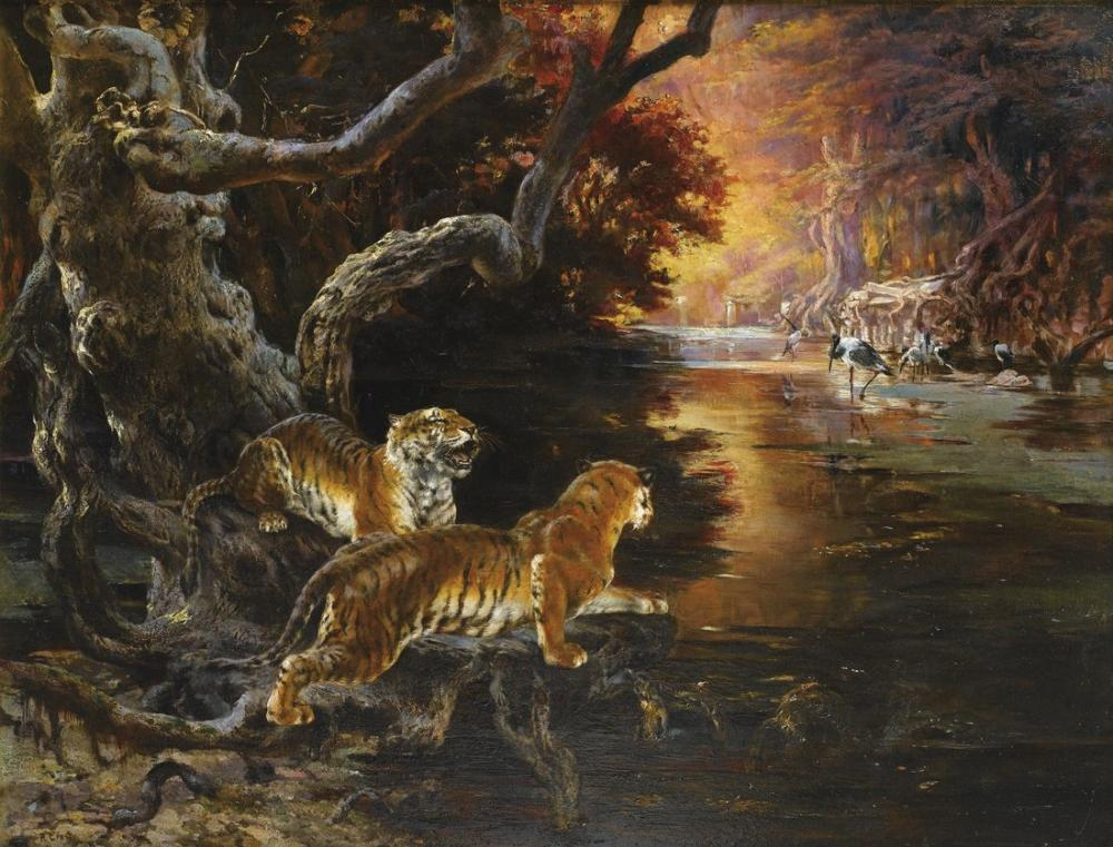 Rudolf Ernst Two Tigers, Orientalism, Rudolf Ernst, kanvas tablo, canvas print sales