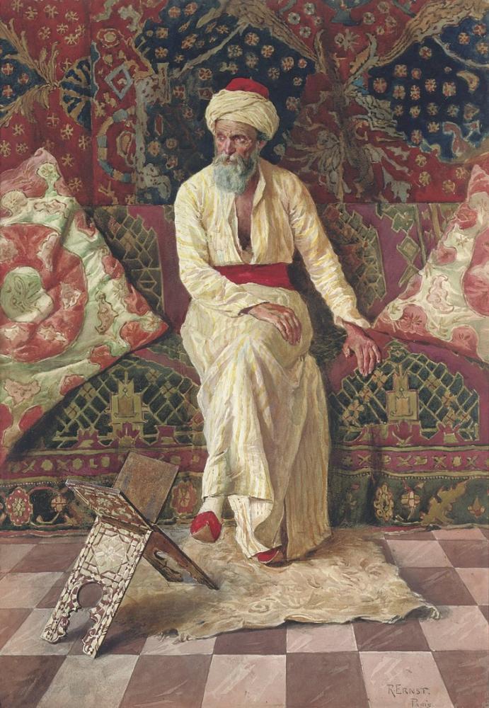 Rudolf Ernst A Pensive Elder, Orientalism, Rudolf Ernst, kanvas tablo, canvas print sales