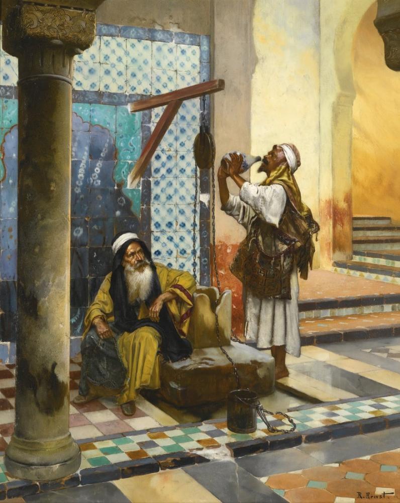Rudolf Ernst At The Well, Orientalism, Rudolf Ernst, kanvas tablo, canvas print sales