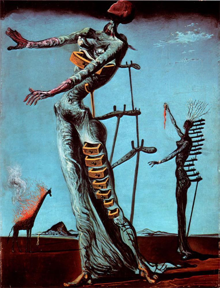 Salvador Dali Burning Giraffe Oil Paintings, Canvas, Salvador Dali