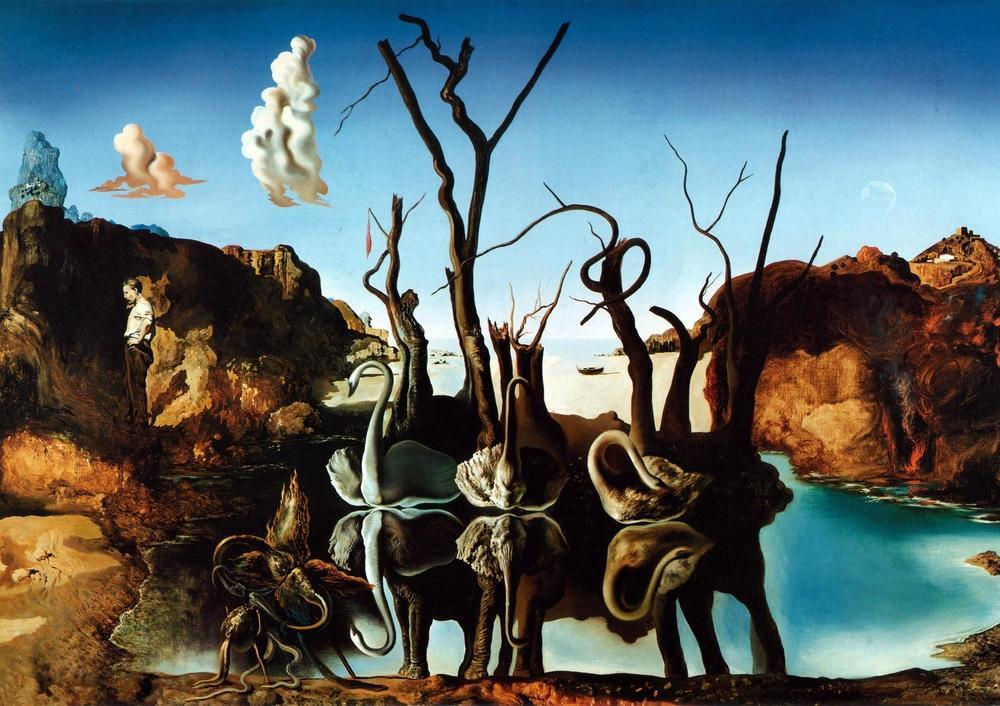 Salvador Dali Filleri Yansıtan Kuğular, Kanvas Tablo, Salvador Dali, kanvas tablo, canvas print sales