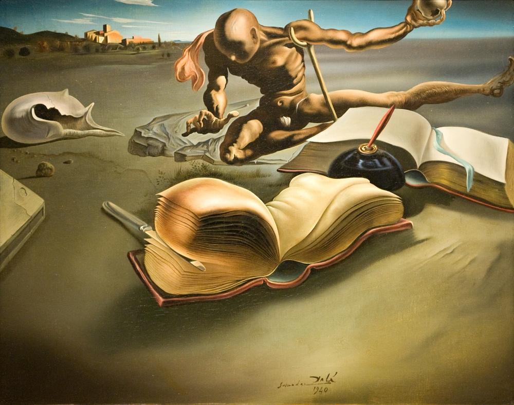 Salvador Dali Book Transforming Itself into a Nude Woman, Canvas, Salvador Dali, kanvas tablo, canvas print sales